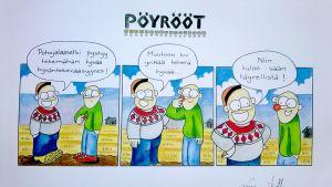 Liisa ja Arttu Seppälän Pöyrööt-sarjakuvaoriginaali on huudettavana Nenäpäivän hyväksi.