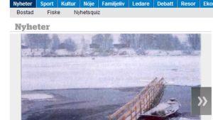 Lammasdraamasta kertoi ensimmäisen Nordländska Sosialdemokraten -lehti. Kuvakaappauksessa lehden internet-sivuilta kuva väliaikaisesta sillasta, jota kautta lampaita yritettiin pelastaa.