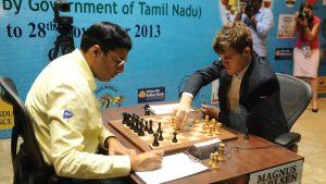Magnus Carlsen ja Viswanathan Anand pelaavat šakkia.