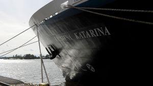 Kristina Cruises Oy:n laiva m/s Kristina Katarina Helsingin Kanavaterminaalissa elokuussa 2010.