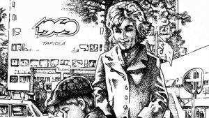 Avaussivu Jouko Nuoran Kultainen nuoruus-sarjakuva-albumista