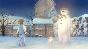 Lumiukko ja lumikoira -animaatio.