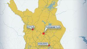 Kartta Sodankylän sijainnista.