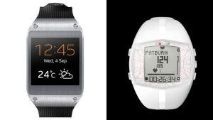 Yhdistelmäkuvassa vasemmalla Samsungin Galaxy Gear -älykello ja oikealla Polarin FT40 -sykemittari.