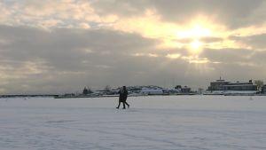 Pariskunta kävelyllä meren jäällä.
