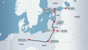 Kartassa näkyy Rail Baltican reitti Berliinistä Tallinnaan.