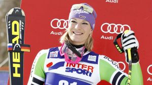 Maria Höfl-Riesch voiton jälkeen.