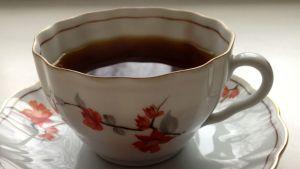 Kuvassa koristeellinen kahvikuppi.