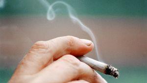 Palava tupakka miehen kädessä.