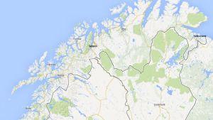 Karttakuva pohjoismaiden pohjoisosista