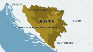 Bosnian kartta ympäröivine valtioineen.