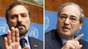 Syyrian oppositiota edustava Louaj Safi ja maan apulaisulkoministeri Faisal Muqdad.