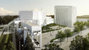Havainnekuva Tampere-talon viereen rakennettavsta Hotelli Marriotista