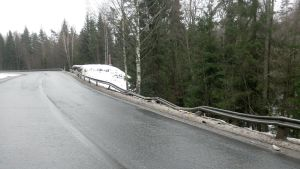Onnettomuuspaikka 16 km valtakunnan rajalta Viipurin suuntaan.