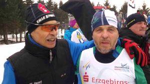 Pekka Virtakoivu ja Sakari Matikainen veteraanien MM-kisoissa Saksassa.