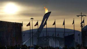 Olympia-kisapuisto ilta-auringossa kisojen päätösviikonloppuna 22. helmikuuta.