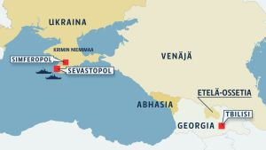 Ukraina, Krim, Venäjä kartalla