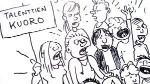 Piirroksessa lapset laulavat Talentti-nimisessä kuorossa