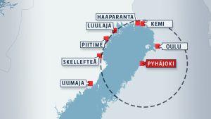Kartta, jossa näkyy Pyhäjoen sijainti Suomen länsirannikolla.