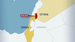 Kartta, jossa on punaisella Golanin alue. Karttaan merkitty Israel, Syyria ja Jordania.