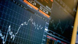 Pörssikurssin käyrä tietokoneen näytöllä.