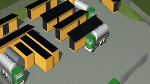 Havainnekuva BioGTS:n tulevasta biodiesellaitoksesta Leppävedellä.