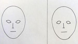 Kuvassa kaksi piirrettyä päätä, joilla karkeasti hahmotellut kasvonpiirteet.