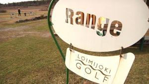 Loimijoki Golfin mainoskyltti.