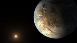 Taiteilijan näkemys Kepler-186f-planeetasta.
