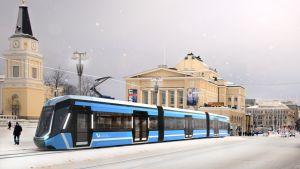 Havainnekuva, jossa raitiovaunu talvisella Keskustorilla.