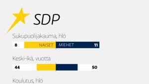 SDP:n eurovaaliehdokkaiden taustatiedot. Lähde: Ylen vaalikone. Kuva: Juha Rissanen / Yle uutisgrafiikka.