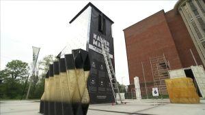 Jattimäinen 3d-tulostin Kamer maker printtaa taloelementtejä Amsterdamissa Hollannissa