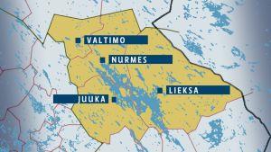 Kartta, johon merkitty Valtimo, Nurmes, Lieksa ja Juuka.