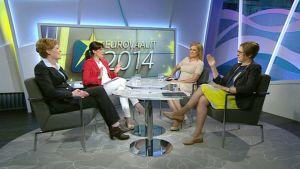 Christina Gestrin (RKP), Eija-Riitta Korhola (kokoomus) ja Heidi Hautala (vihr.) Aamu-tv:n vieraina 19. toukokuuta.