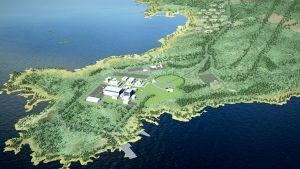 Havainnekuva suunnitellusta ydinvoimalasta.