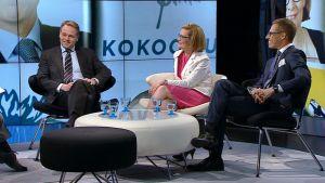Jan Vapaavuori, Paula Risikko ja Alexander Stubb A-studion vieraina.