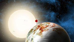 Taiteilijan näkemys Kepler-10c planeetasta.