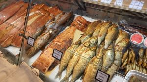 Fish counter at Helsinki's south harbour market hall.