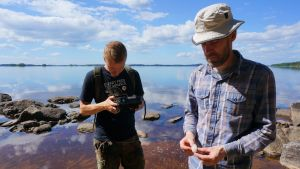 Esa Hertell ja Olli Eranti ovat löytäneet Koitereen rannalta kvartsin kappaleita.