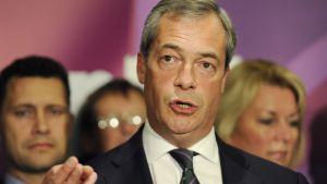 Ukipin johtaja Nigel Farage tiedotustilaisuudessa europarlamenttivaalien jälkeen.
