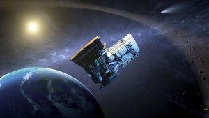 Maapallo, avaruus ja asteroideja.