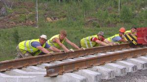 Rautatien rakentamista Venäjällä Karjalan kannaksella Kamenogorskissa