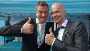 Jukka Hallikainen ja Marko Maunuksela nauttivat joka kesä tangotunnelmasta.
