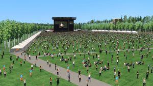 Havainnekuva Kantolan tapahtumapuistosta, jossa on ihmisiä ja konserttilava