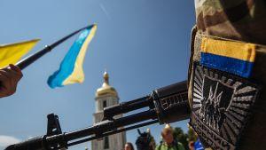 Azovin pataljoonan uudet jäsenet vannoivat uskollisuudenvalansa ennen lähtöään Itä-Ukrainaan Kiovassa 16. heinäkuuta 2014.
