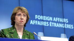 EU:n ulkoministeri Catherine Ashton puhuu tiedotusvälineille Brysselissä 22. heinäkuuta 2014.