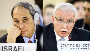 Israelin suurlähettiläs Genevessä Eviatar Mano ja Palestiinan ulkoministeri Riyad al-Malik YK:n ihmisoikeusneuvostossa 23. heinäkuuta
