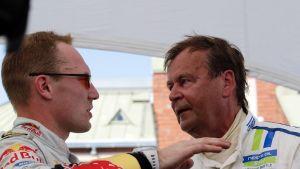 Jari-Matti Latvala ja Markku Alén kuvassa
