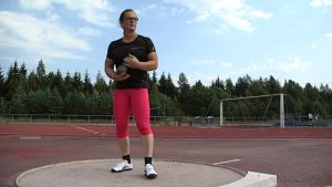 Vera Räsänen kilpailee naisten kuulantyönnön Suomen mestaruudesta Kalevan kisoissa