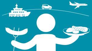 Ihminen kannattelee käsissään makkaratikkua ja pihvilautasta. Taustalla laiva, lentokone ja auto.